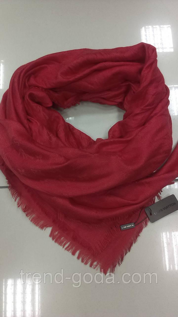 Платок кашемировый большой Бренс узорами Луи Виттон (реплика),красного цвета