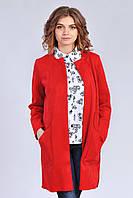 Модный замшевый женский кардиган свободного силуэта красного цвета