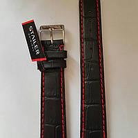 Кожаный ремень Stailer-из натуральной кожи, с выделкой под крокодил и красной прошивкой, подкладка нубук