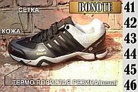 Мужские кроссовки кожаный носок подошва пена вверх сетка BONOTE  M020