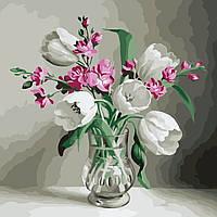 Картина по номерам без коробки Идейка Медуница и пионы (арт. KHO2020) 40 х 40 см