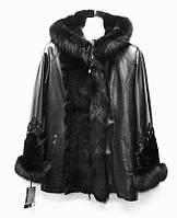 Кожаная женская куртка с капюшоном с мехами на съемной подстежке, фото 1