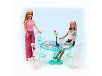 Мебель для кукол Gloria столовая, стол, посуда, стулья 4шт, 2811
