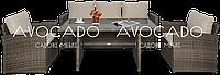 Комплект плетеной мебели  STELLA 3 коричнево- бежевого цвета    диван+кресла+стол