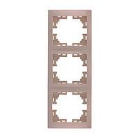 MIRA Рамка 3-а вертикальная б/вст крем Lezard (701-0300-153)
