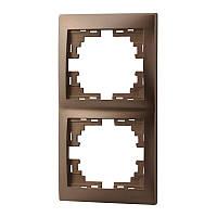 MIRA Рамка 2-а вертикальная світло-коричневий перламутр без вставки Lezard (701-3100-152)
