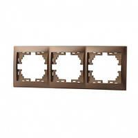 MIRA Рамка 3-а горизонтальная світло-коричневий перламутр без вставки Lezard (701-3100-148)