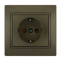 MIRA Розетка с защитой от детей  світло-коричневий перламутр зі вст(10шт/120шт Lezard (701-3131-124В)