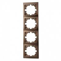 MIRA Рамка 4-а вертикальная світло-коричневий перламутр без вставки Lezard (701-3100-154)
