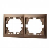 MIRA Рамка 2-а горизонтальная світло-коричневий перламутр без вставки Lezard (701-3100-147)