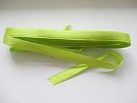 Стрічка атласна  двостороння 1 см ( 10 метрів) яскраво-салатова Н090