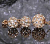 Комплект в шикарном исполнении: Кулон с цепочкой, серьги с кристаллами Swarovski, покрытые золотом (601880)