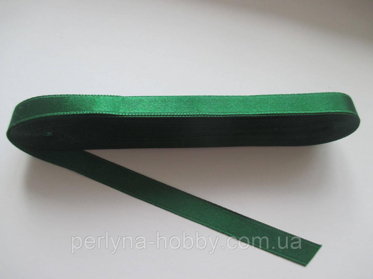 Стрічка атласна  двостороння 1 см ( 10 метрів) зелена G-245