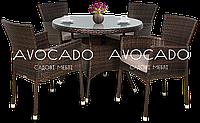 Комплект плетеный для ресторана   ROMA / LERIDA   braun  стол 80см +4 кресла