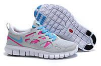 Кроссовки Nike Free Run 2.0 Gray Pink Серые женские