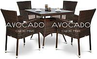 Комплект  QUADRO / LERIDA BRAUN  стол 80X80см +4 кресла