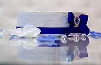 Сито свадебное с кружевом и синим бантом