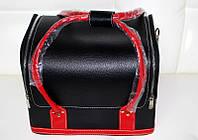 Чемодан для мастера из кож.заменителя на змейке чёрный с красными ручками YRE
