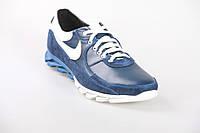 Кроссовки кожаные синего цвета с белыми вставками 353с