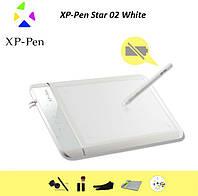 Планшет графический для рисования XP-Pen Star 02 White, сенсорные кнопки, чехол, рабочая поверхность 204*127мм