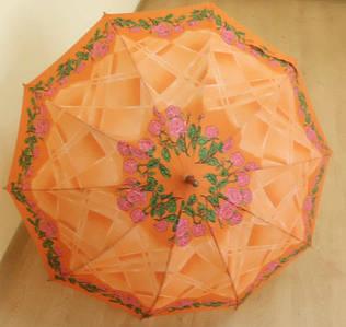 Женский зонт трость на 10 пластиковых спиц
