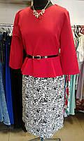 Платье женское красное с баской