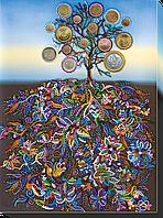 Набор для вышивания бисером на художественном холсте Денежное дерево
