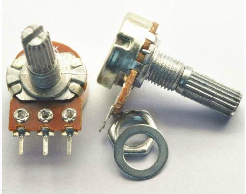 Потенциометр (переменный резистор) линейный роторный.  Сопротивление 50 КОм WH148 1A-1-18T-B503-L15