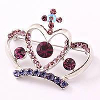 Брошь в виде короны с фиолетовыми кристаллами