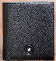 Хорошее мужское кожаное портмоне MONTBLANC MOH-938, черный