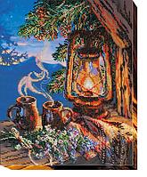 Набор для вышивания бисером на художественном холсте Вечерний чай