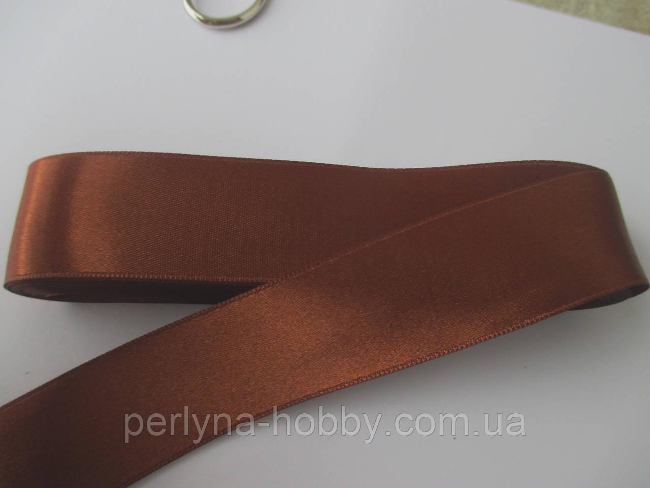 Стрічка атласна  двостороння 3 см ( 10 метрів) коричнево-рудий