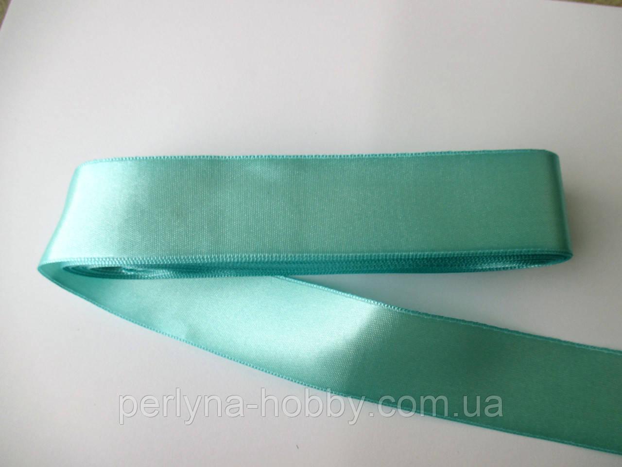 Стрічка атласна  двостороння 3 см ( 10 метрів) бірюзово-зелений №66