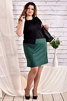Интересное платье больших размеров 0462 зеленое 56 размер