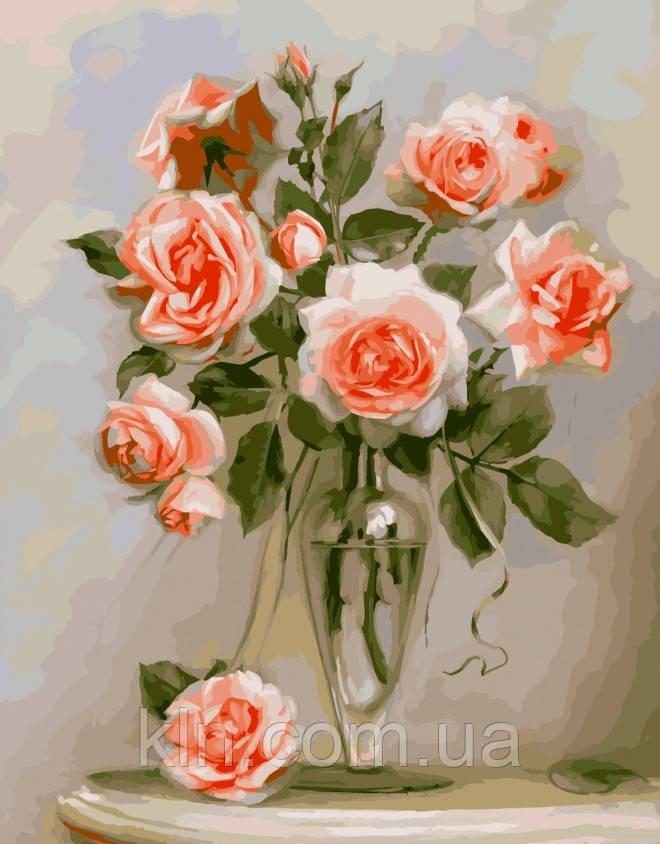 Картина по номерам Идейка Коралловые розы 40 х 50 см (арт. KH2034)