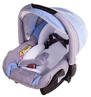 Автокресло детское Adamex Carlo серый лен - голубой (ромб)
