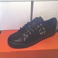 Женские кроссовки №1018 (черные)