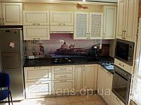 Кухня классическая, прованс, угловая, скинали, стекло, фото 1