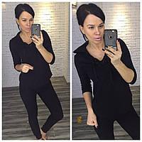 Черный  женский спортивный костюм больших размеров с капюшоном. Арт-2216/30