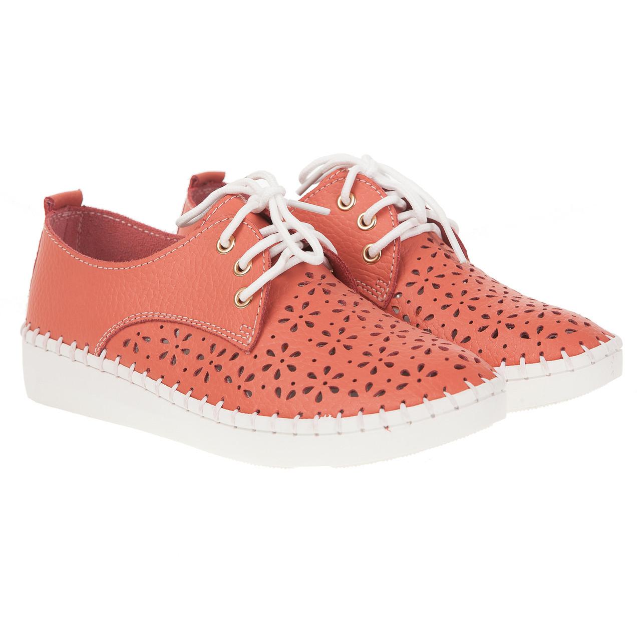 Туфли женские Lifeexpert (стильный коралловый цвет, на белой подошве, на шнурках, с перфорацией, удобные)