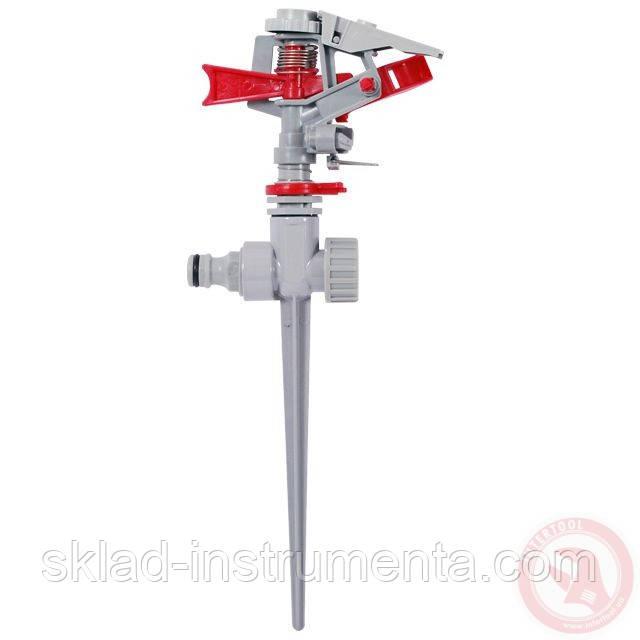 Дождеватель пульсирующий с полной или частичной зоной полива на костыле, круг/сектор полива до 12м Brass, Zinc