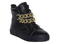 Кожаные женские ботинки с цепями