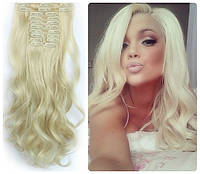 Волосы трессы на заколках ТЕРМО 7 прядей  №60 блонд