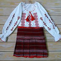 Вышиванка  с длинным рукавом для девочки «Юности заря» на рост 110-158 см, фото 1