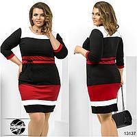 Женское платье в полоску. Модель 13137. Большие размеры.