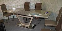 Стол обеденный раскладной ТМ-53 капучино, столешница МДФ покрытый каленым стеклом, вставка стола цвета латте