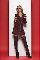 Женское стильное пальто букле 377 цвет бордо размер 44-50