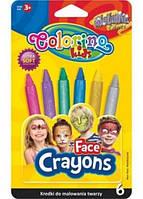 65917PTR Краски для лица 6цветов Metallic COLORINO