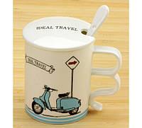 Чашка с крышкой Ideal travel Мопед