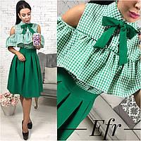 Классическая женская юбка складочка,цвет зеленый,черный